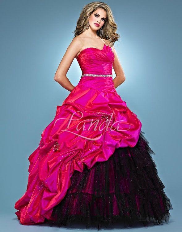 Strapless pink and black wedding dresses | wedding | Pinterest ...