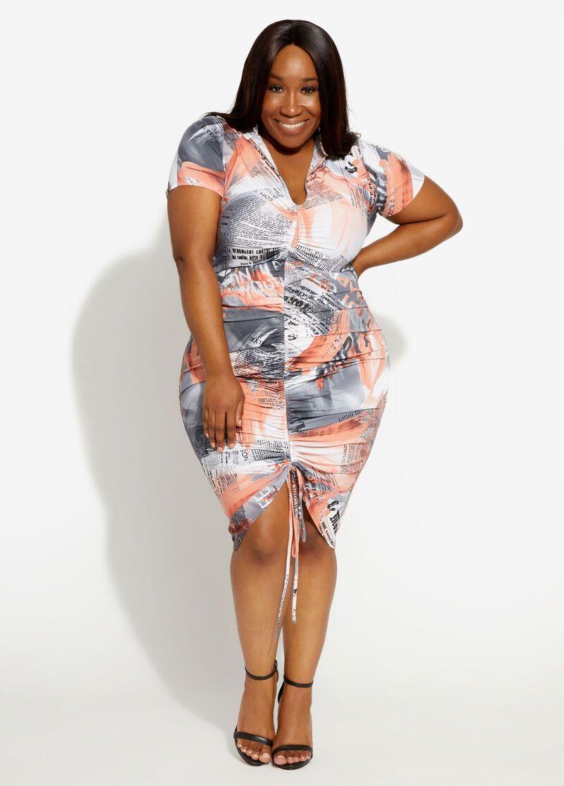 Tie Dye Newspaper Ruched Dress