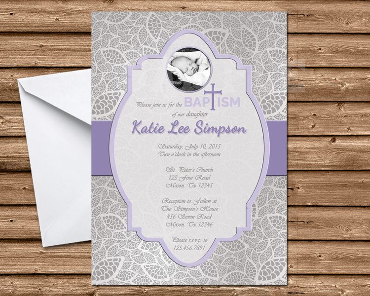Lace Girl Photo Baptism Invitations Pink Or Purple Baptism Invitations Pink Invitations Boy Baptism