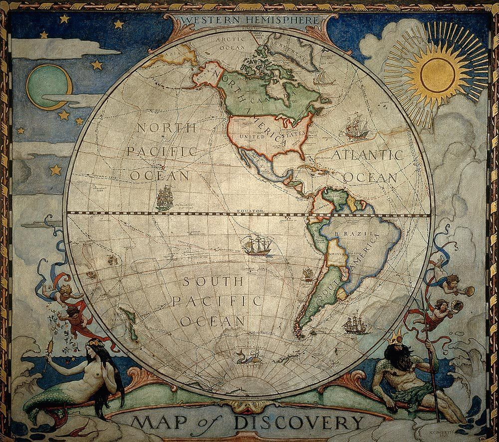 Wyeths western hemisphere world map wallpaper wall mural self wyeths western hemisphere world map wallpaper wall mural self adhesive multiple sizes gumiabroncs Gallery