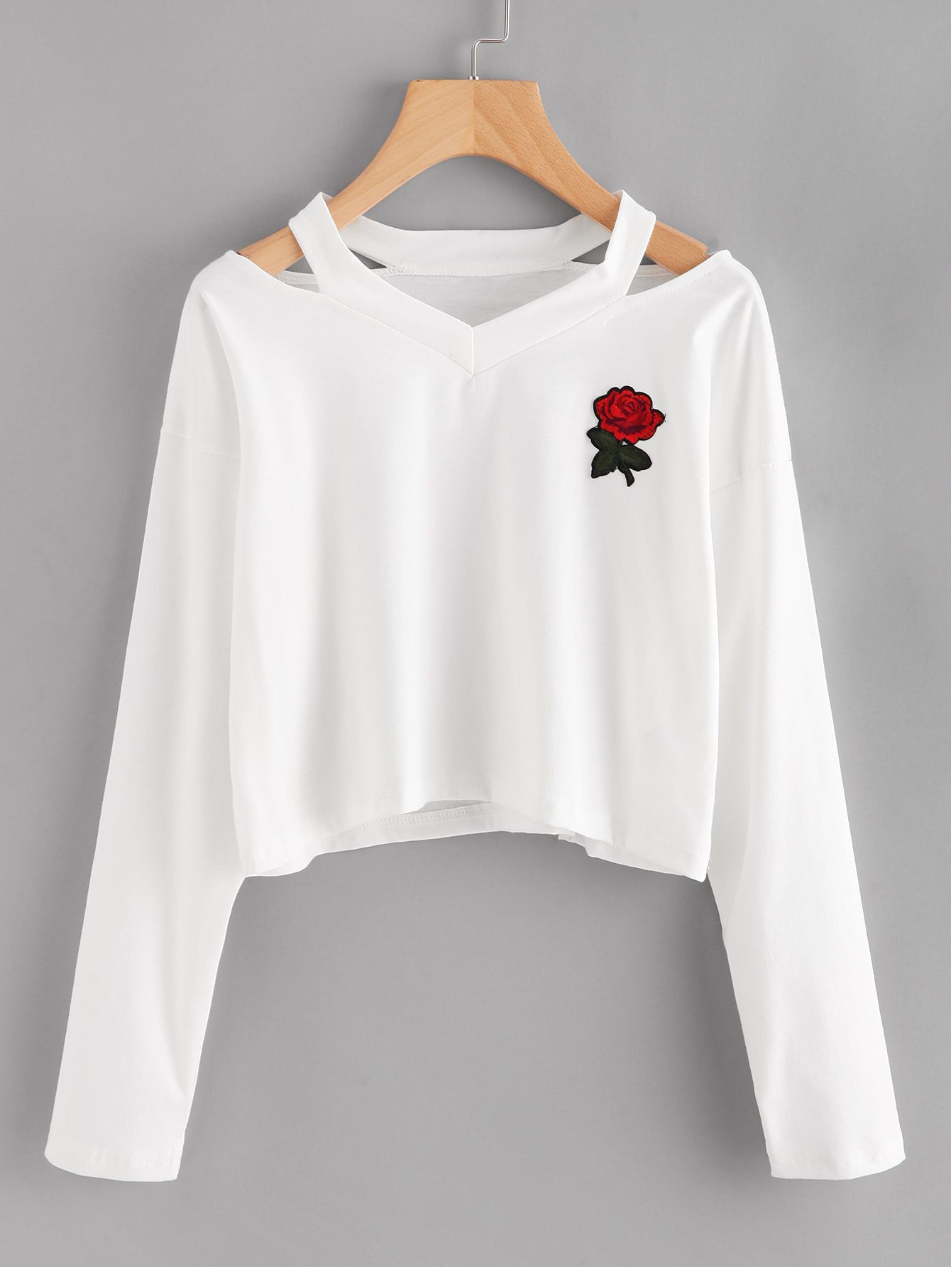 4f13282810 Shop Cut Out Neck Rose Patch Tee online. SheIn offers Cut Out Neck Rose  Patch Tee & more to fit your fashionable needs.