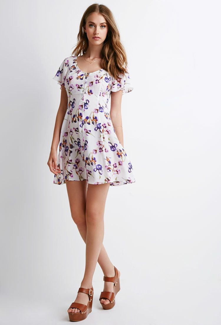 Buttoned floral print dress forever fashion