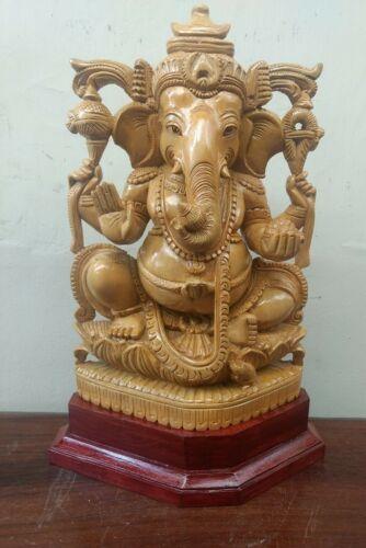 Hindu God Ganesha Sculpture Hand carved Cedar Ganesh Statue Murti Yoga Figurine | eBay