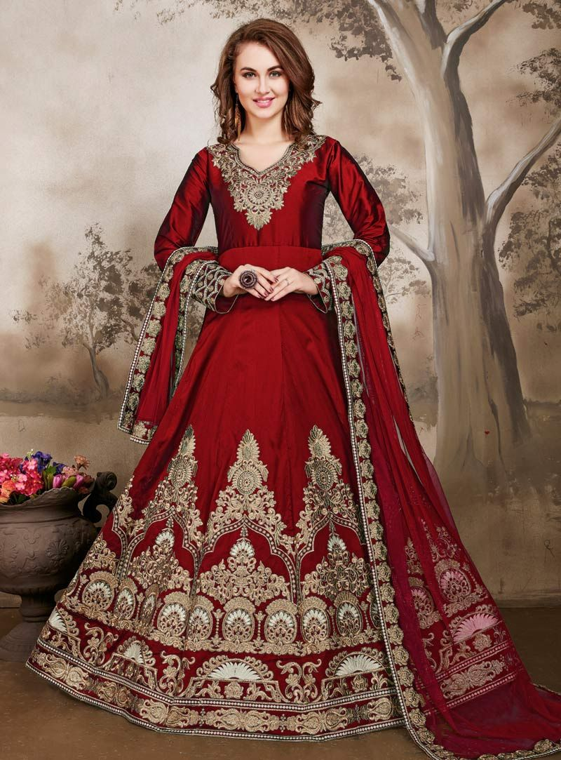 6c8b0ecd24c Red Taffeta Silk Embroidery Work Floor Length Anarkali Suit 87066 ...