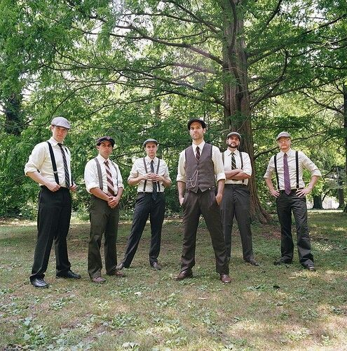 Groom And Groomsmen Attire 50s Themed Wedding