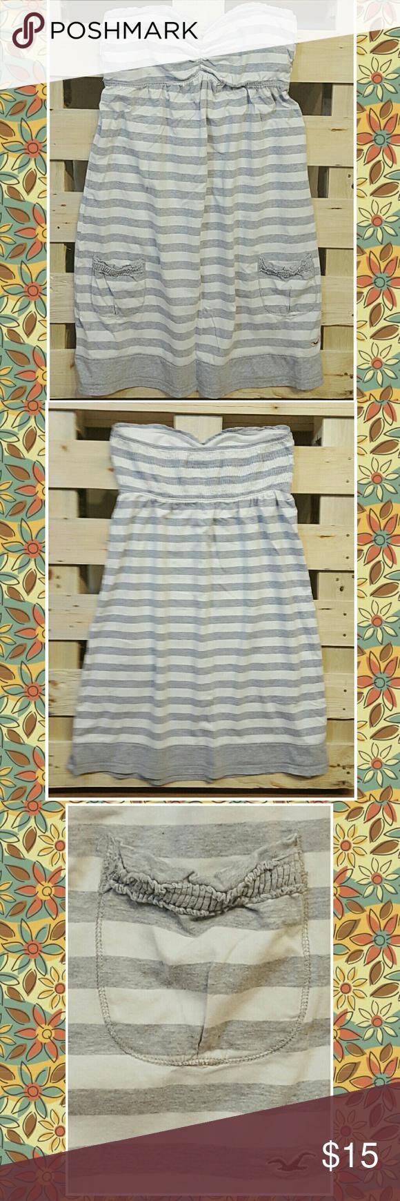 Hollister Sundress Adorable gray an white striped Sundress. Hollister Dresses