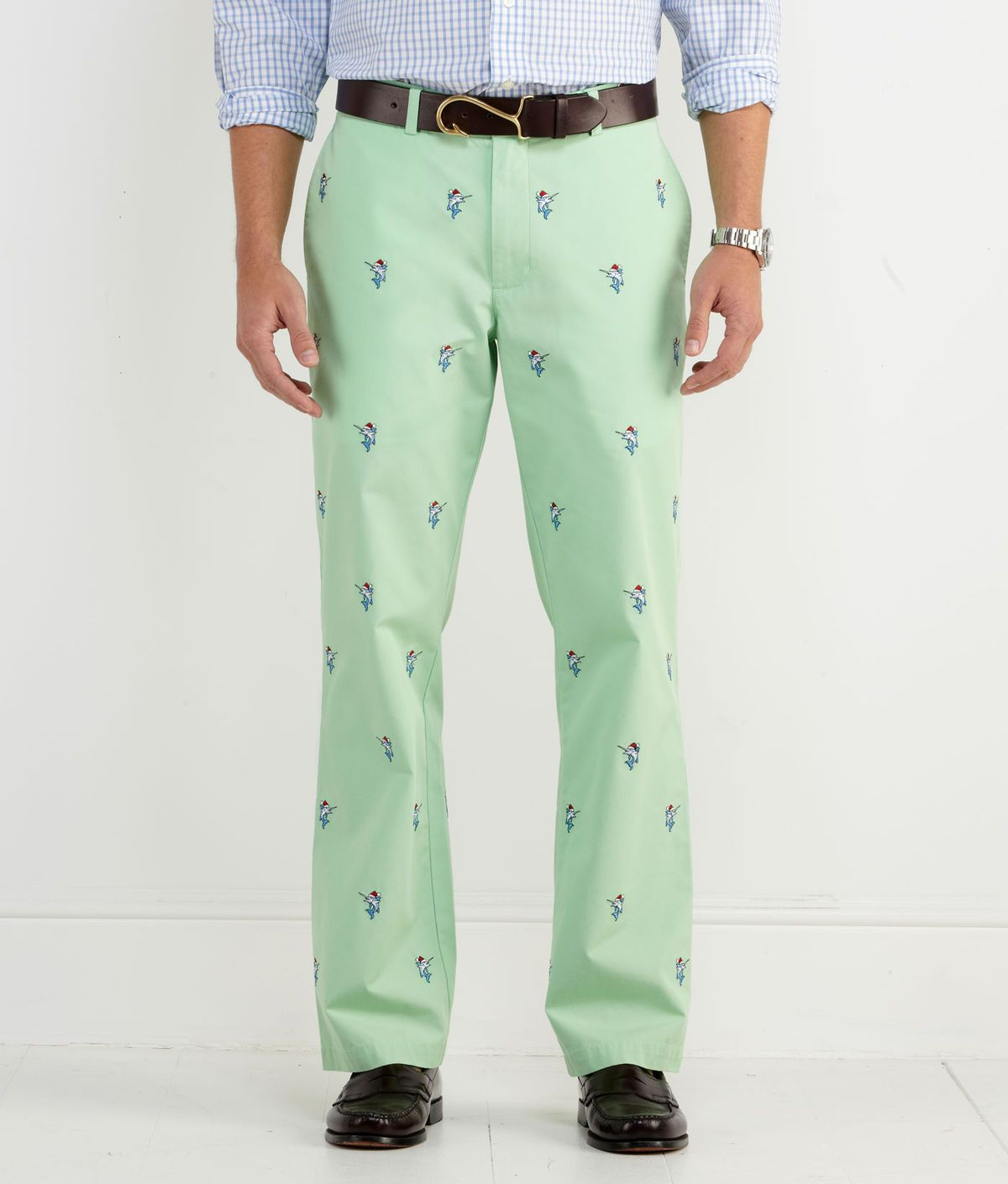 2ddc5526410 Holiday Wear for Men: Embroidered Santa Marlin Club Pants for Men -  Vineyard Vines