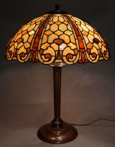 Duffner kimberly colonial leaded lamp c1905 antique lampsled lamptable