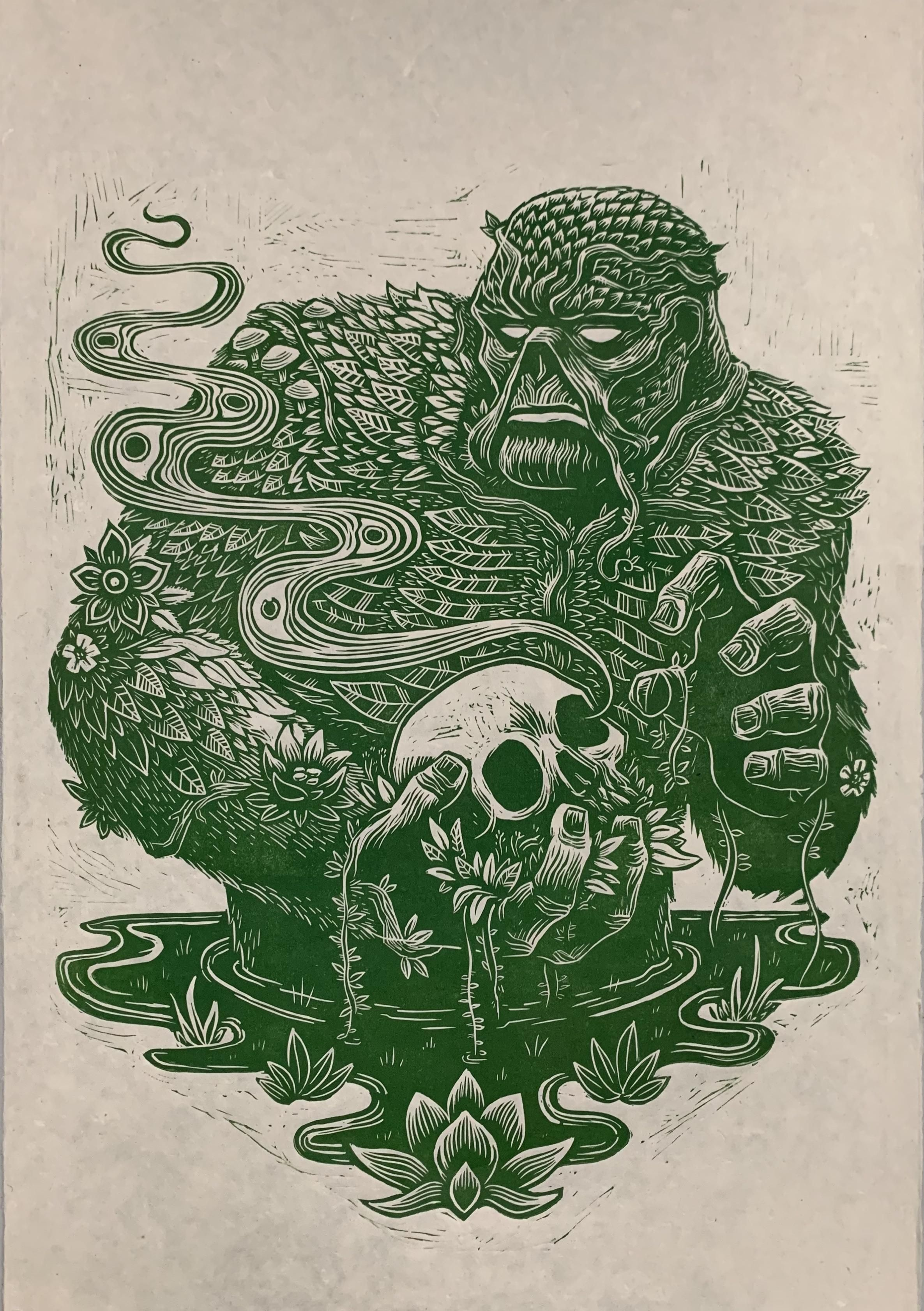 Hey everyone! Im new to the group! I made this Swamp Thing linoleum block print. Its 30 x 20 on hand made paper. Hope you guys dig it! #swampthing