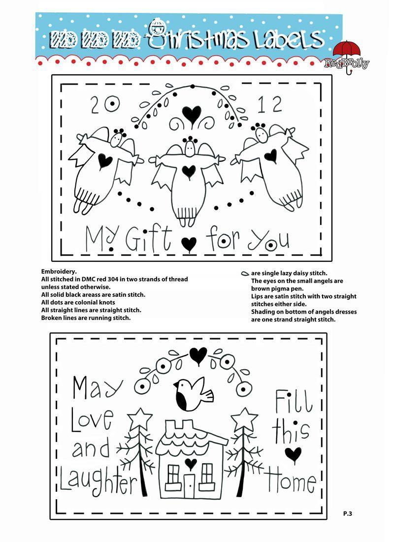 P.3 Labels | Stitchery | Pinterest | Bordado, Bordado navidad y Navidad