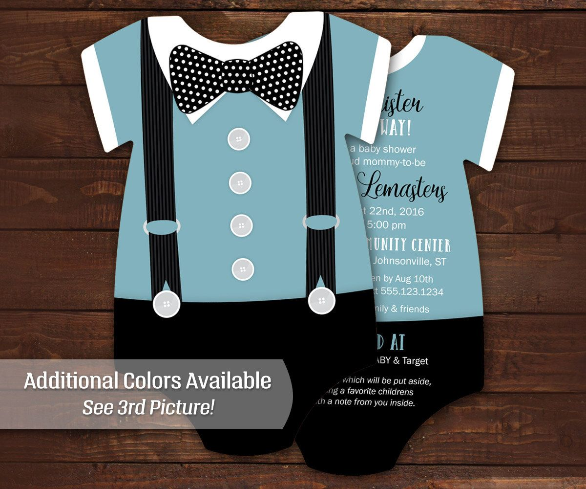 Boy Baby Shower Invites Bowtie Invitations Blue Suspenders