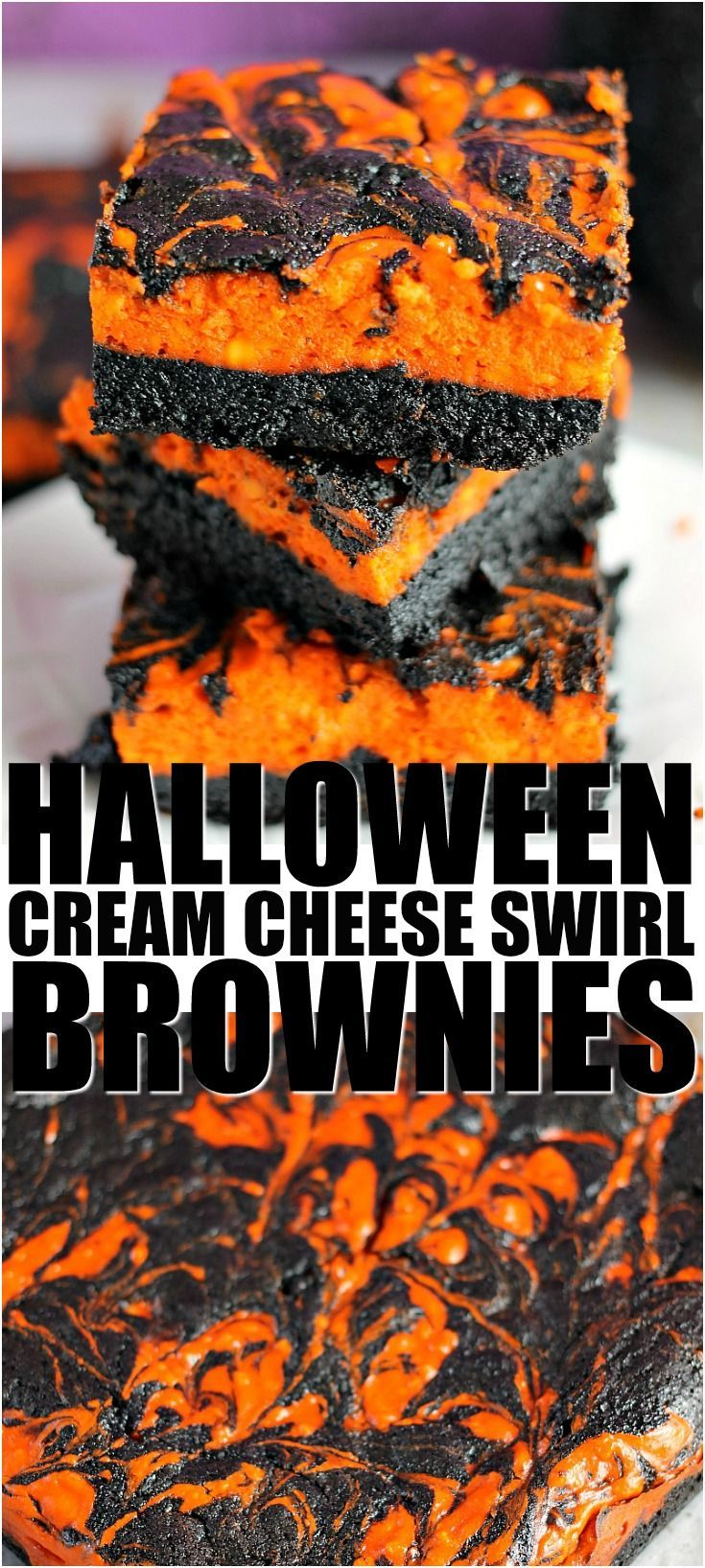 Halloween Cream Cheese Swirl Brownies have a layer of rich, dark chocolate brownie topped with a layer of orange cheesecake then swirled together for a spooky treat. | Persnickety Plates #halloweenbrownies