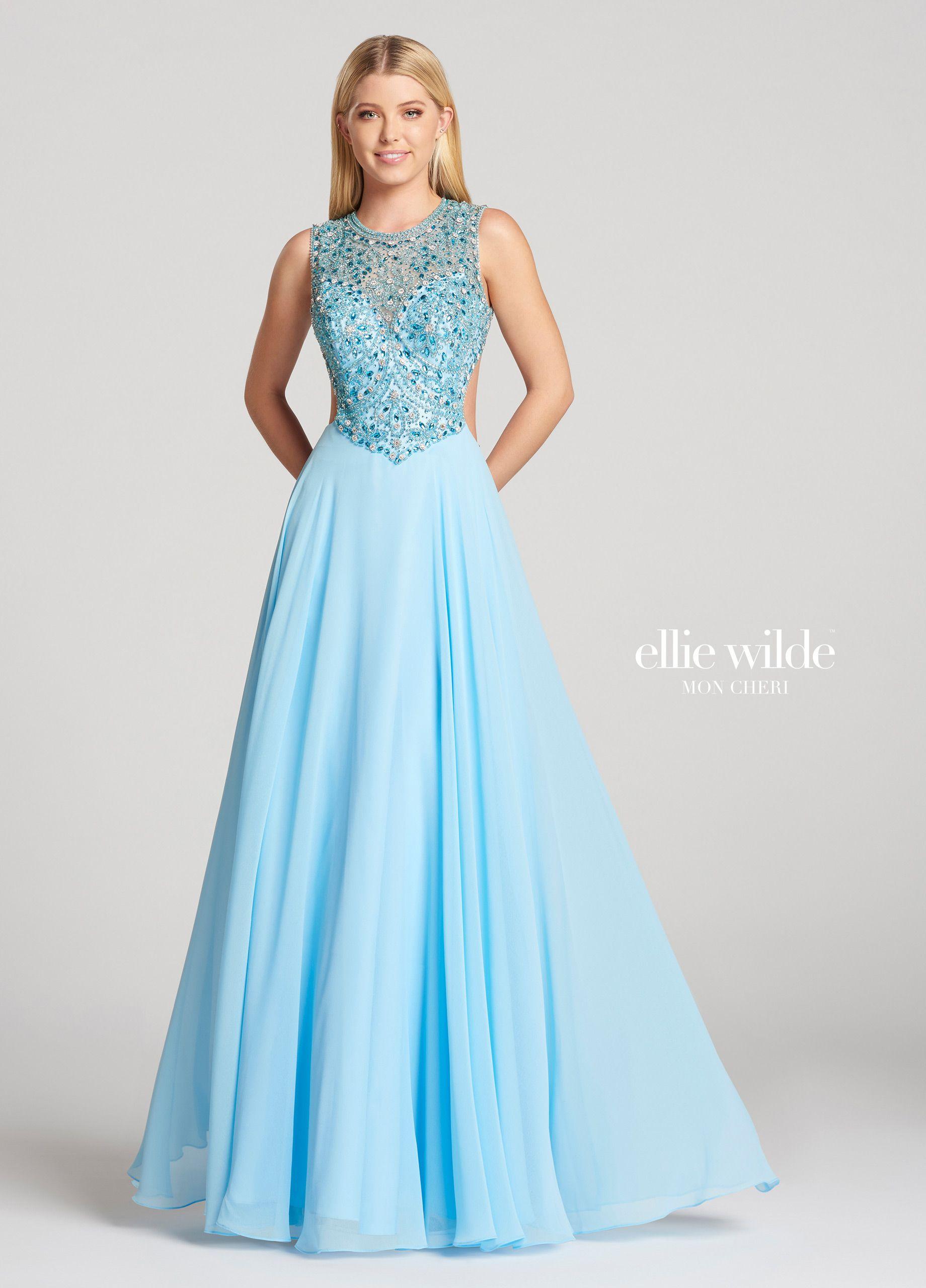 Chiffon & Tulle A-Line Beaded High-Neckline Prom Dress- EW118153 ...