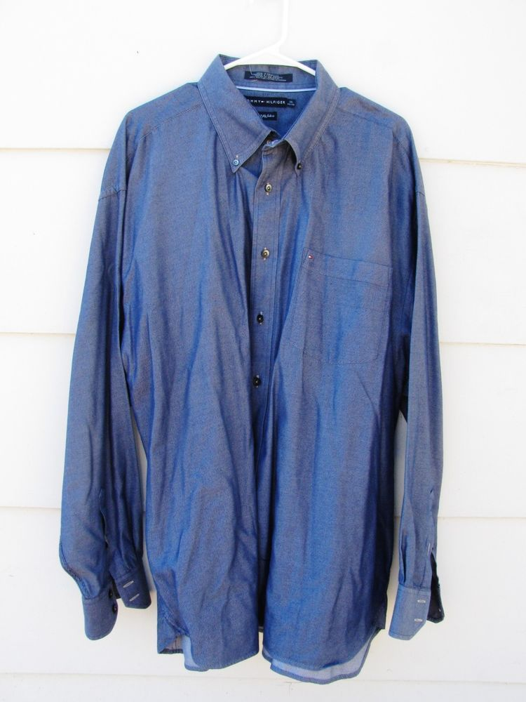 0739e6fc5 TOMMY HILFIGER Men's Blue Long Sleeve Shirt 80's 2 Ply Fabric 100% Cotton  XXL #TommyHilfiger #2Ply