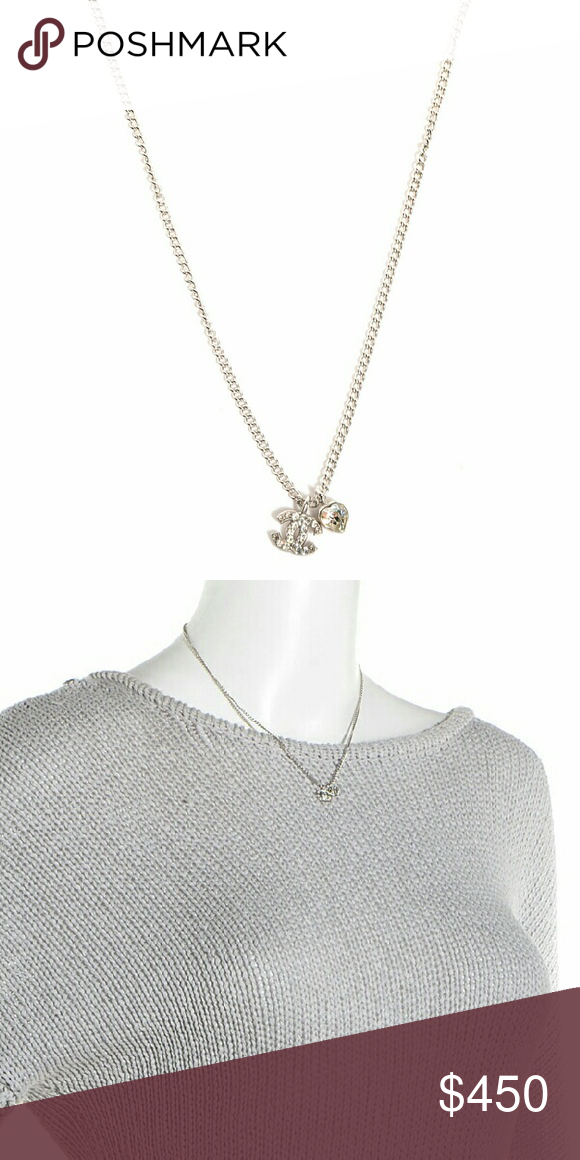 Authentic chanel logo crystal heart necklace sale authentic chanel logo crystal heart necklace authentic chanel crystal mini heart cc necklace silver aloadofball Image collections