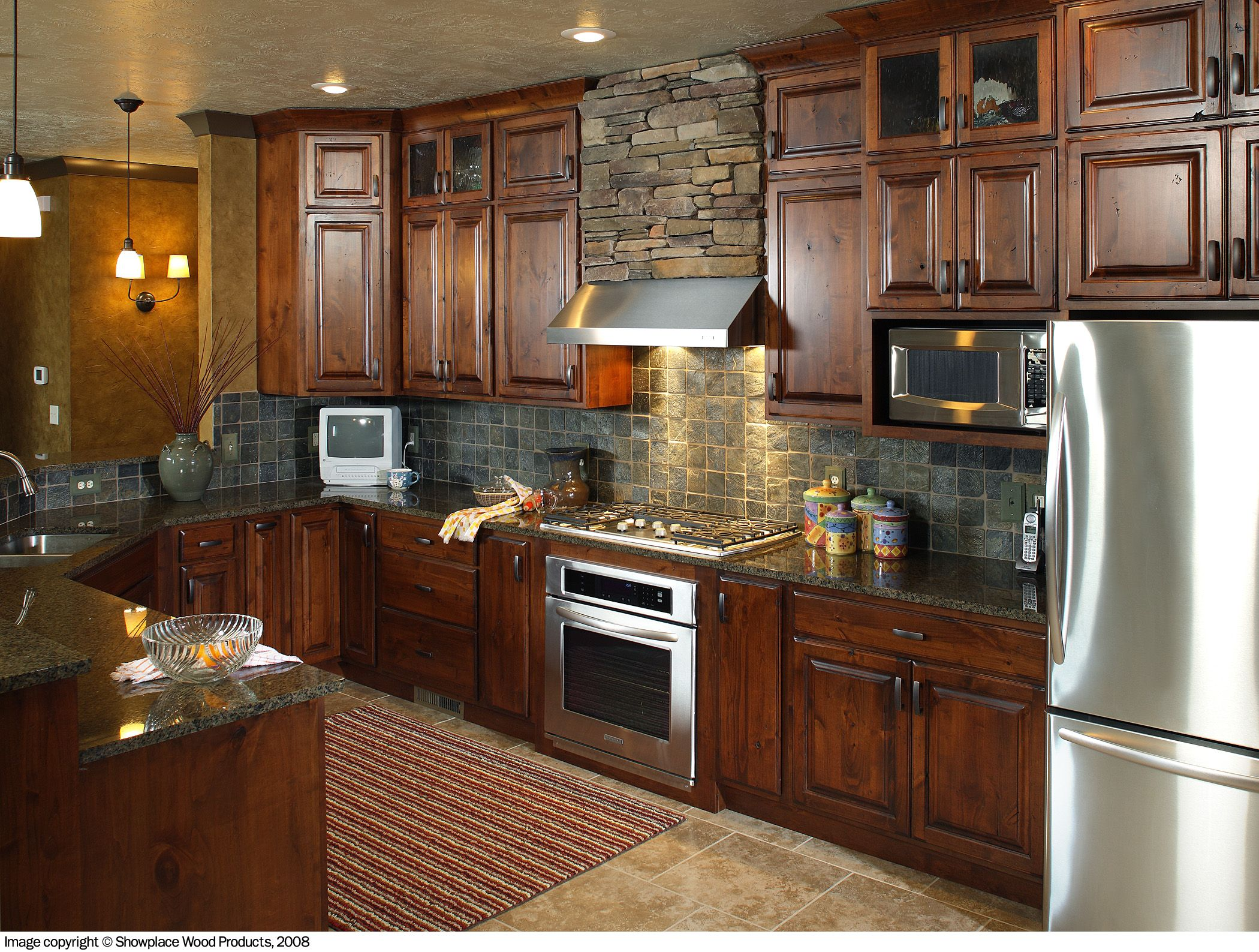 rustic hickory kitchen cabinets | some of these kitchens ...