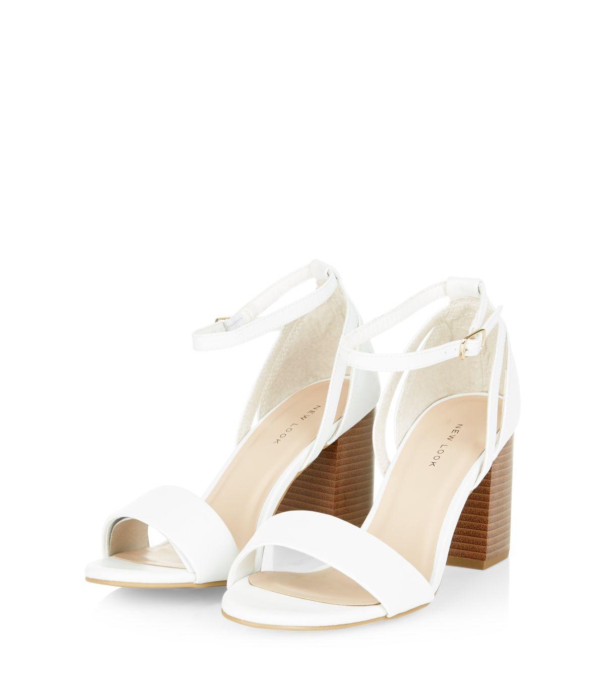 White Ankle Strap Block Heel Sandals