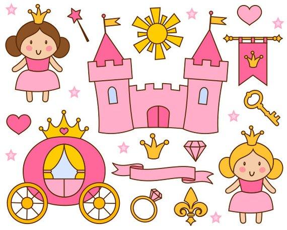 Cute Little Princess Clip Art, Pink Princess Clipart, Castle, Crown - Instant Download - YDC117