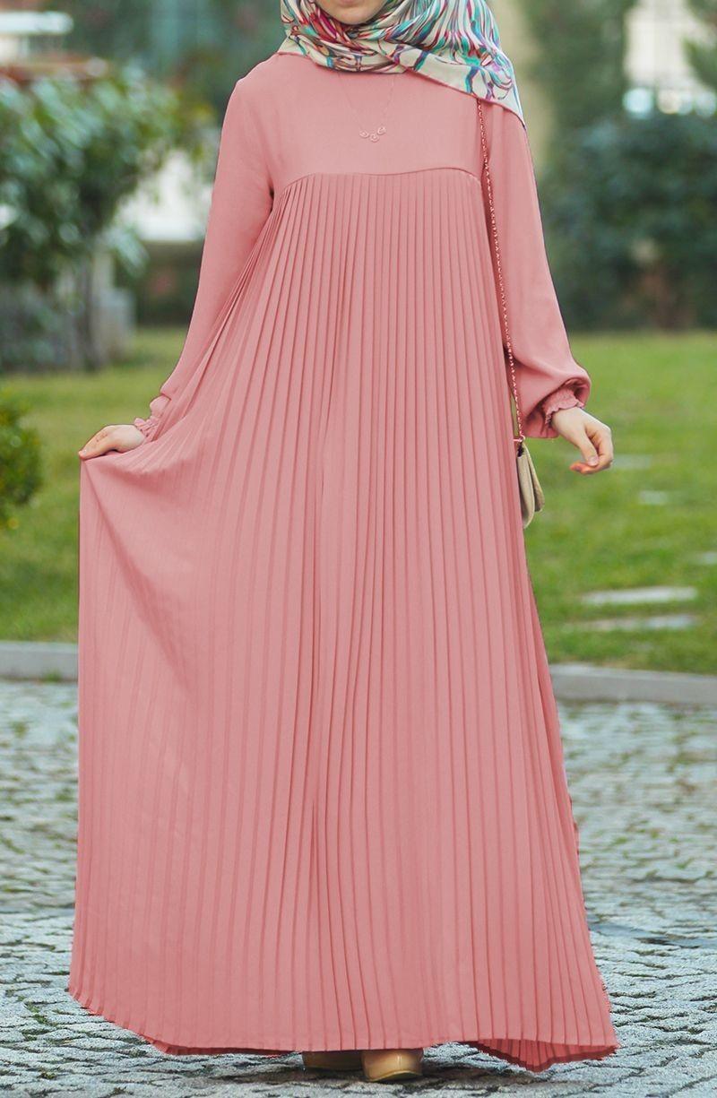 Piliseli Robali Elbise Pudra Tesettur Tukenenler Suhneva Elbise Blok Elbise Elbise Modelleri