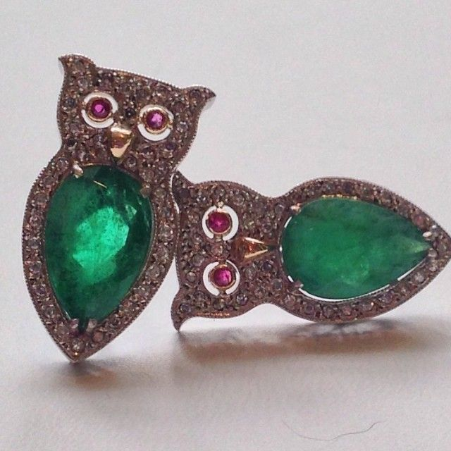 Platinum 1940s emerald & diamond owl earrings with ruby eyes