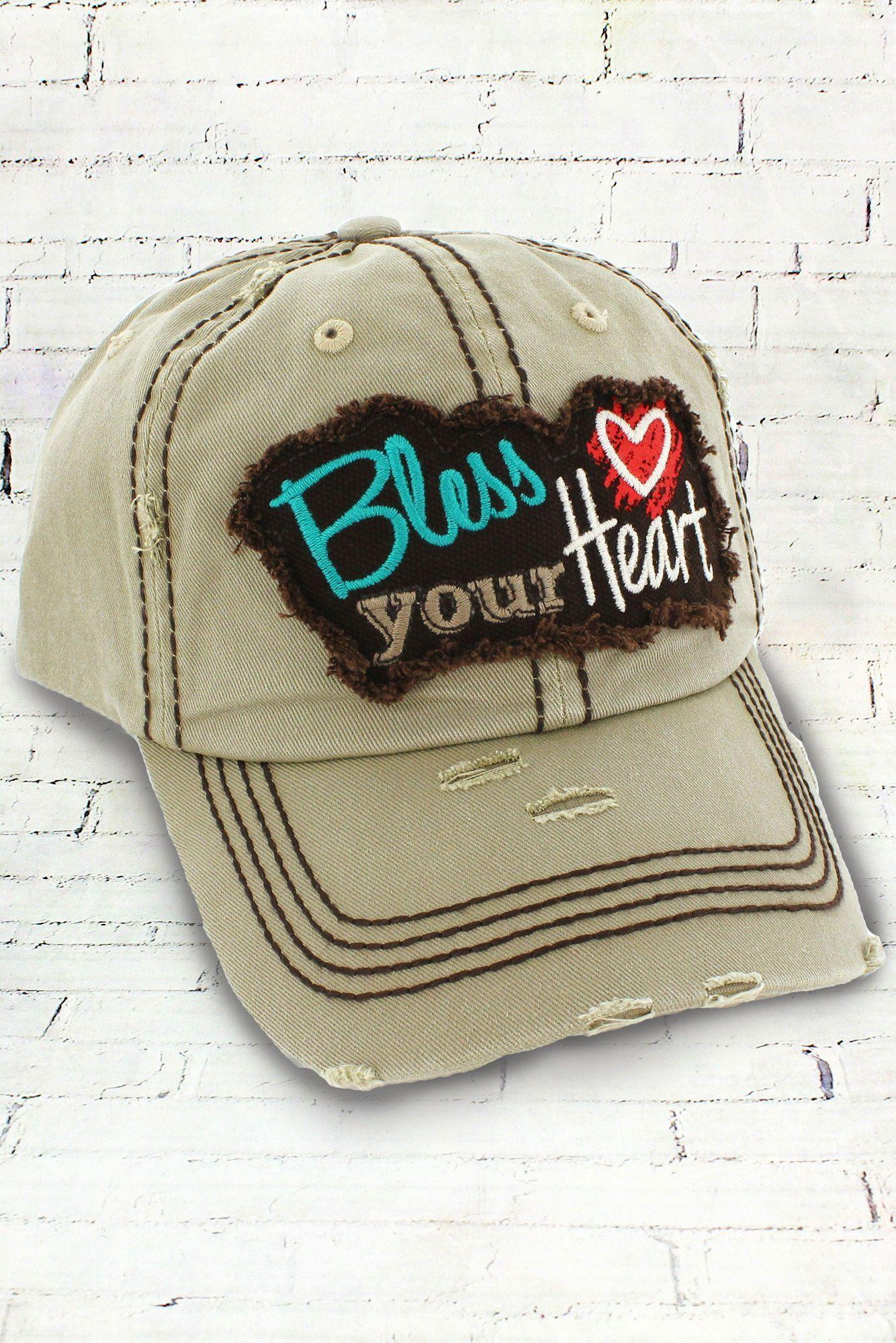 762ed2b4 Distressed Khaki 'Bless Your Heart' Cap #KBV-1071-KHAKI | Products