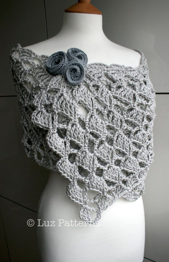 Crochet pattern, Summer Evening wrap crochet pattern (145) Flowers ...