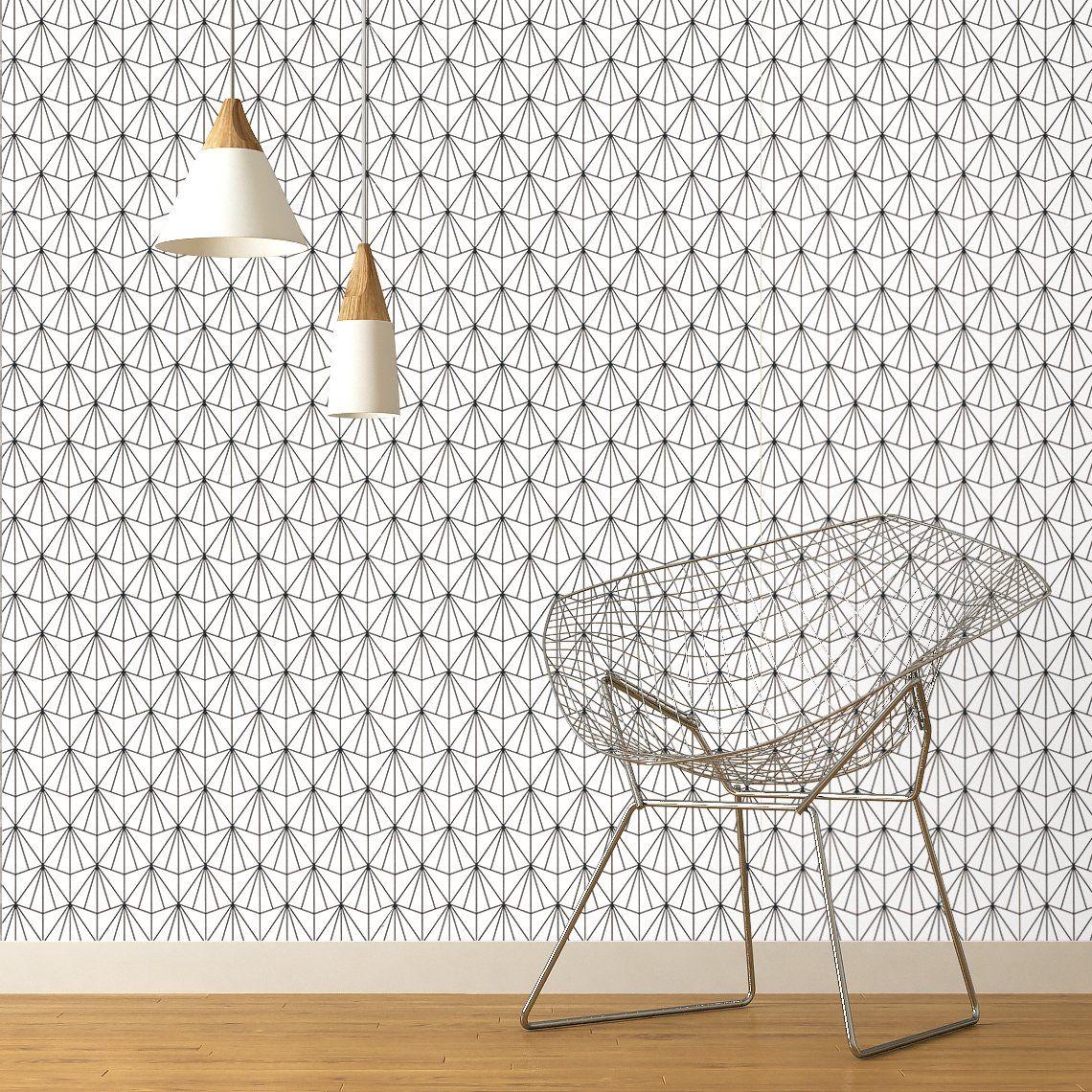 Papier peint REMI expansé sur intissé motif graphique, noir et blanc