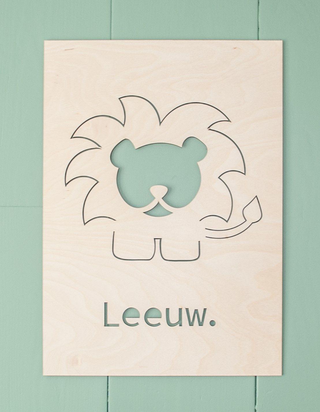 Muurdecoratie Hout Kinderkamer.Houten Poster Leeuw Stoere Houten Poster Voor De Babykamer Of De