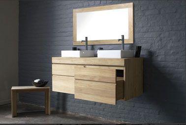 Salle de bain murs gris sol béton gris anthracite meuble Aubade ...