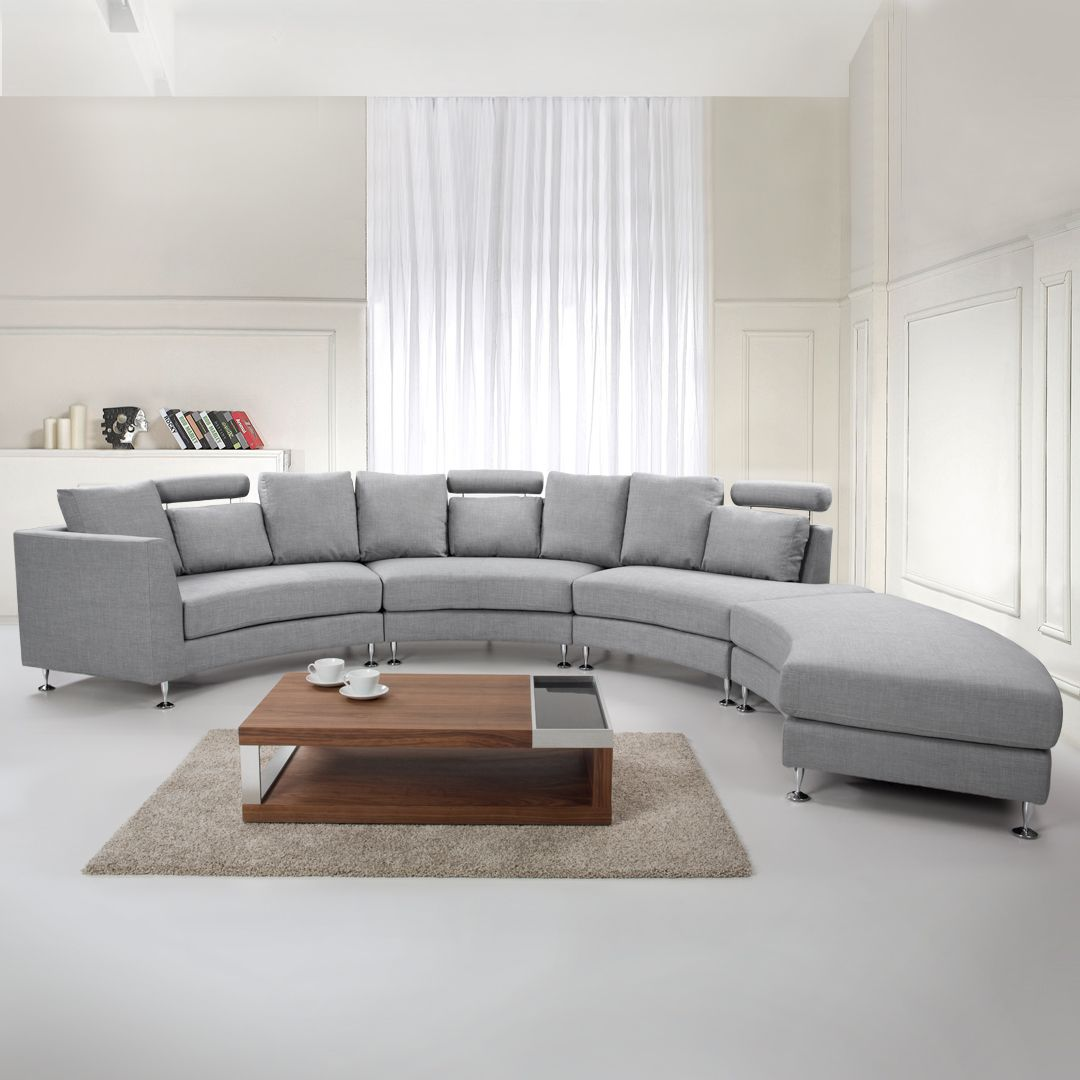 Curved Fabric Modular Sofa Light Grey Rotunde In 2020 Round Sofa