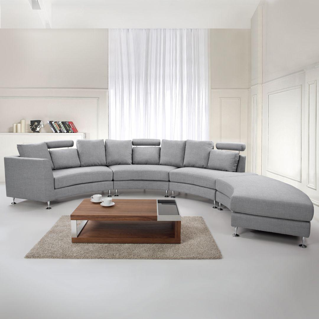 Curved Fabric Modular Sofa Light Grey Rotunde In 2020 Modular