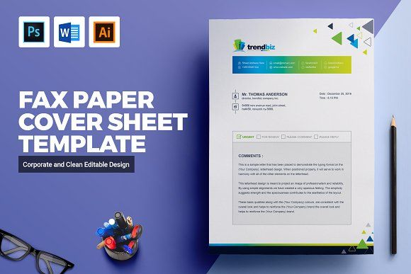 Fax Paper Cover Sheet Template by ContestDesign on @creativemarket