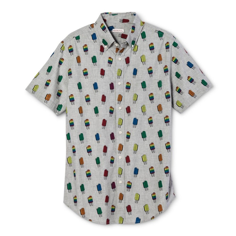 70abac7bf2c Pride Short Sleeve Woven Button Up Shirt - Popsicle Print Gray M ...
