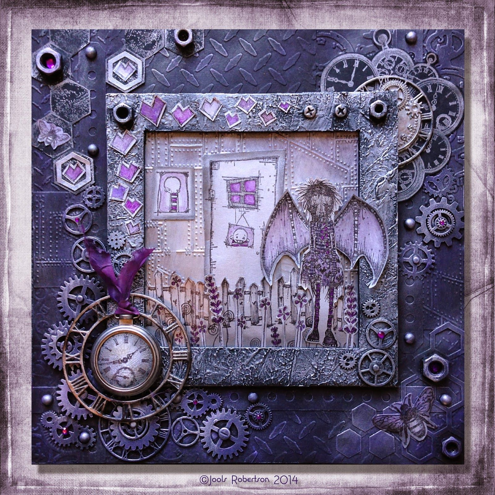 Jools Robertson Stampotique Challenge Steampunk Mixed Media