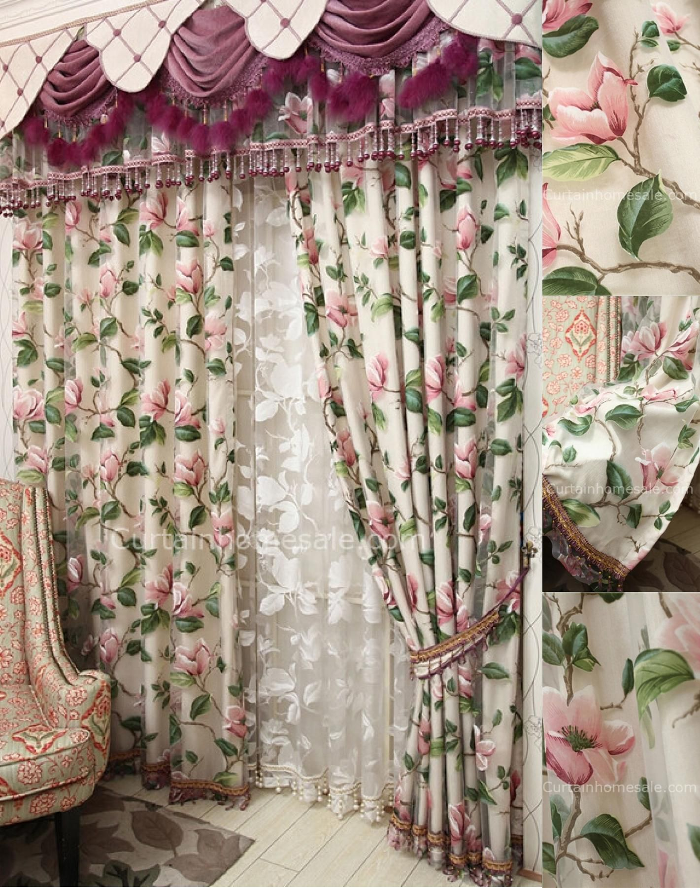 Beige Chenille And Pink Flower Pattern Shabby Chic Curtains For Princess Bedroom No Include Valance Shabby Chic Curtains Shabby Chic Room Shabby Chic Interiors