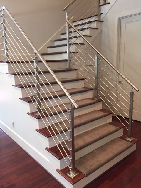 Stainless Steel Cable Railings By Houston Stair Company Steel   Steel Railing For Steps   Balustrade   Simple   Fabrication   Carbon Steel   Wooden