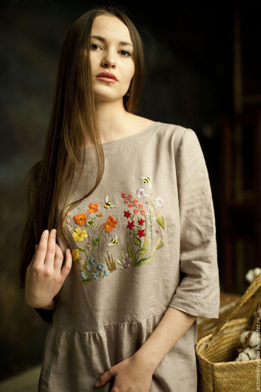 e247e71289e Купить или заказать Платье из льна  Летние цветы  в интернет-магазине на  Ярмарке