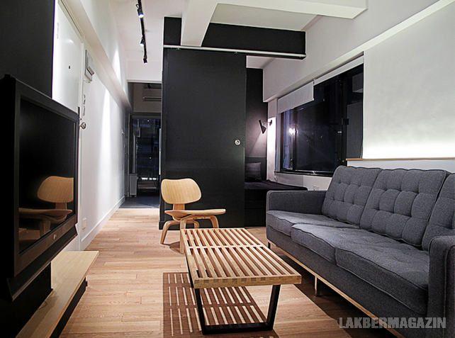 Kis 35nm-es lakás átszervezett terekkel és falakkal, hangulatos