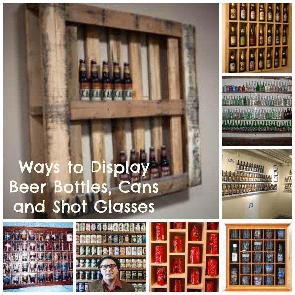 Ways to display beer bottles cans and shot glasses bar for Glass bottle display ideas