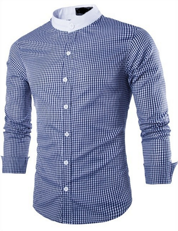Rrive Mens Plaid Casual Long Sleeve Button Up Slim Shirts