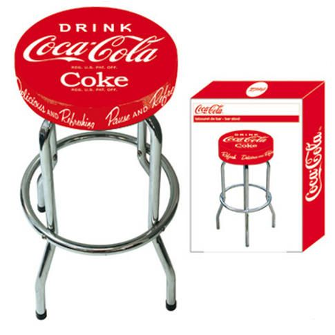 tabouret de bar coca cola mod le logo coca cola mati re m tal vinyl diam tre 35 cm. Black Bedroom Furniture Sets. Home Design Ideas