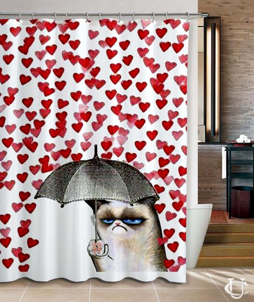grumpy cat love umbrella design cute shower curtain - Cute Shower Curtains