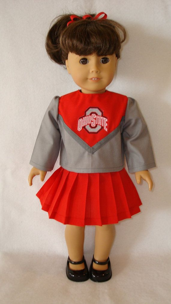 "Doll Clothes fits 18/"" American Girl Dolls Ohio State Buckeyes Cheerleader Outfit"