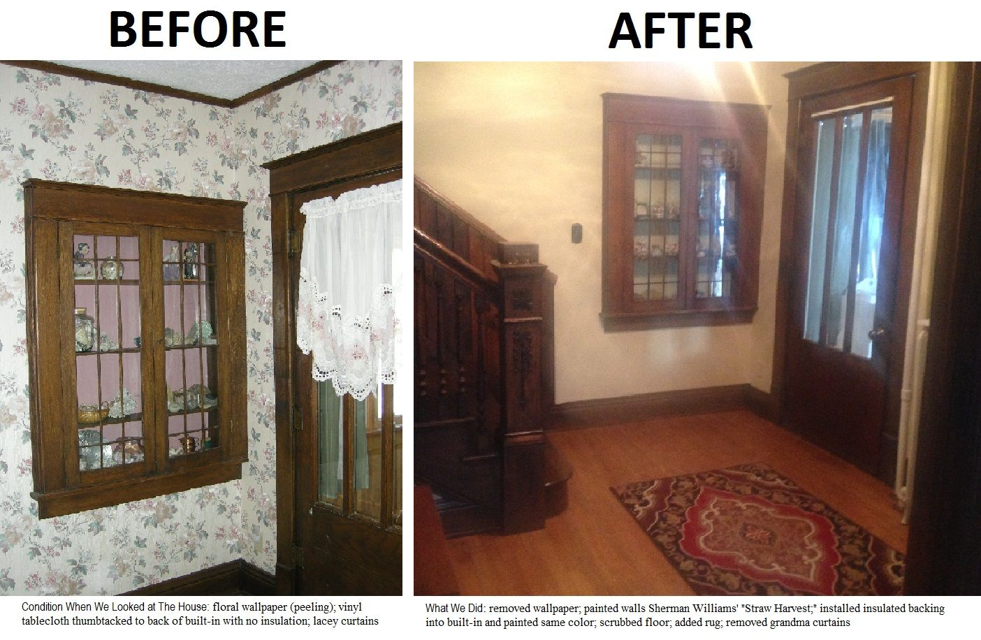 How we changed the corner of our foyer where the built-in is located