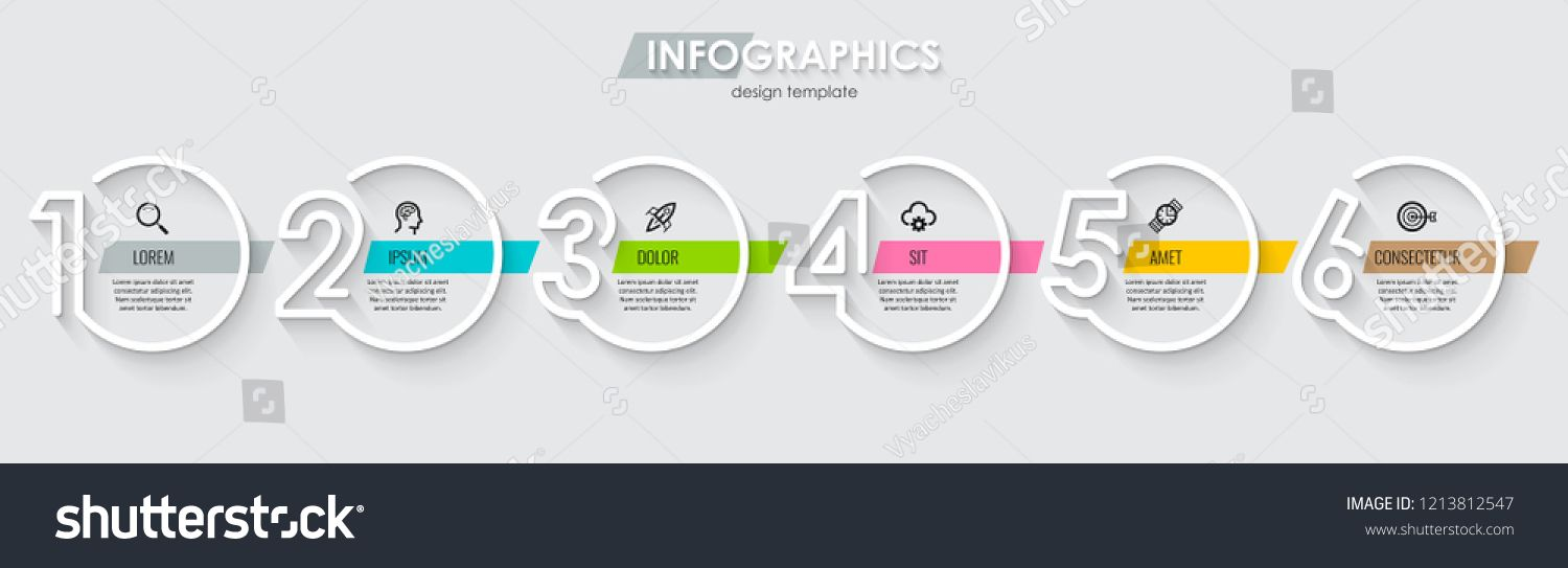 Vector Infographic Design Template With Icons And 6 Numbers