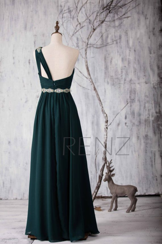 76323e676b 2016 Dark Green Bridesmaid dress One Shoulder Illusion von RenzRags