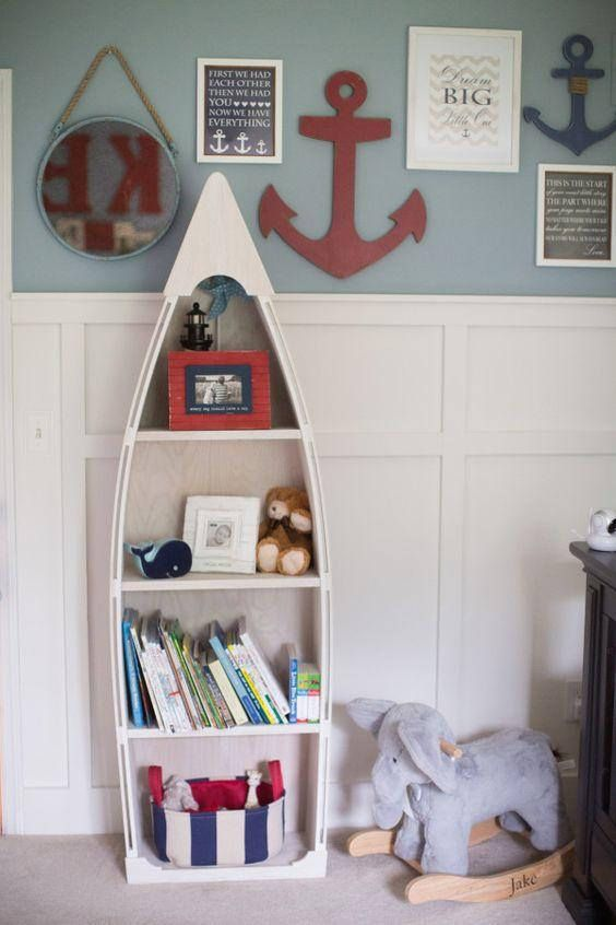 baby boy room themes ideas with bookcase | 6 Foot row Boat Bookshelf Bookcase shelf Nautical cabin ...