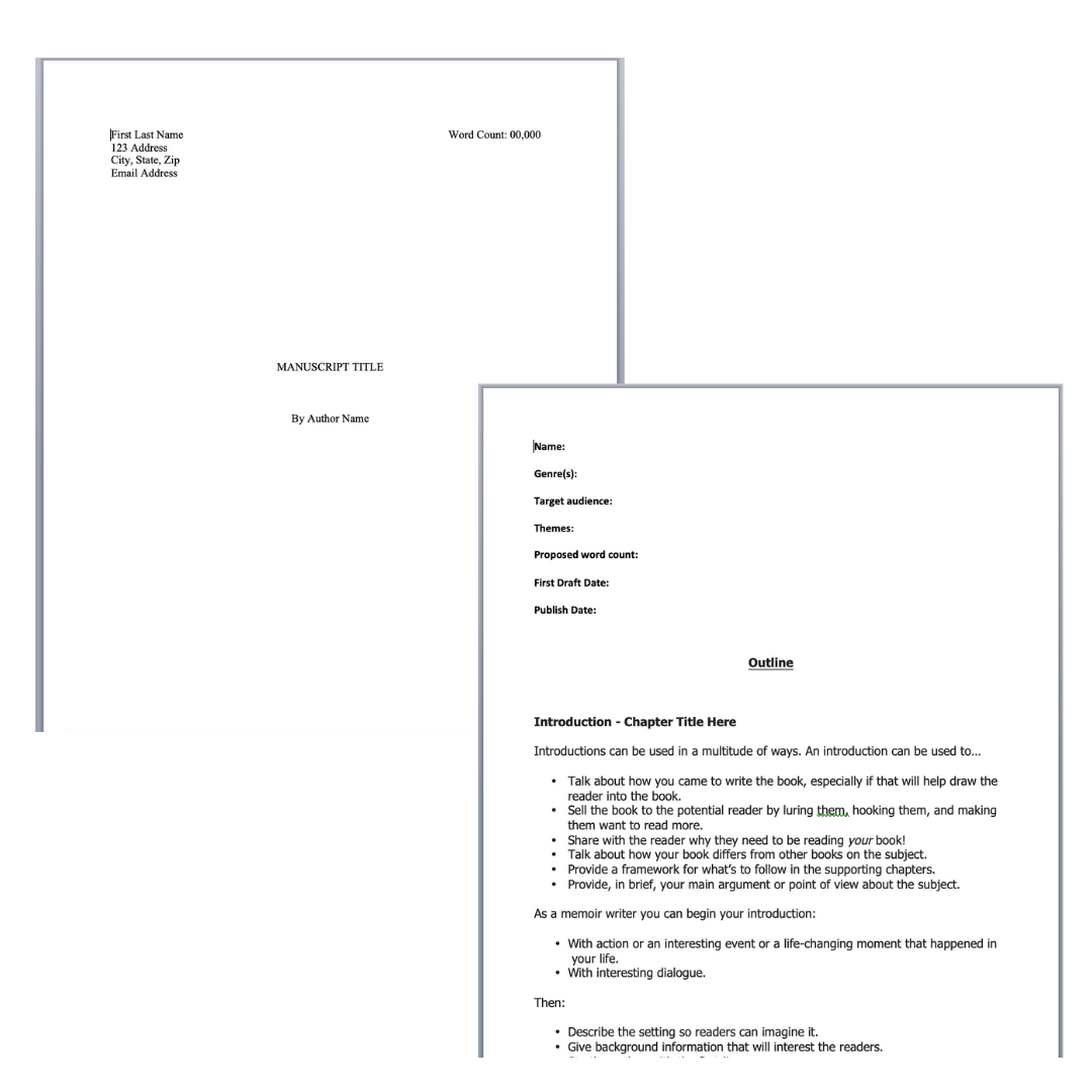 Book Outline and Manuscript Format Templates in 2020