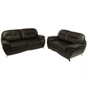 Ella 3 2 Seater Black Leather Sofa Set