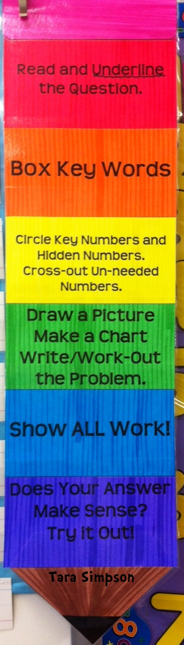 Word problem strategies on a poster and pencil! Tara Teaches - make a t chart in word